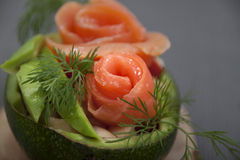 Salad with salmon in half avocado    . Stock Image