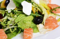 Salad with salmon and mascarpone cheese, pomelo leaves and lettuce Stock Photography