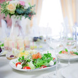 Salad with salmon and mozzarella. Buffet, table, lots of snacks Stock Photography