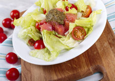 Salad with a salmon and pesto sauce Royalty Free Stock Photos