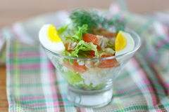 Salad with salmon and rice with vegetables Stock Photo