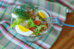 Salad with salmon and rice with vegetables Royalty Free Stock Image