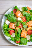 Salad with salmon, spinach and mozzarella Royalty Free Stock Images