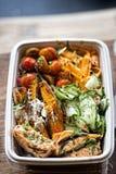 Salad salmon, sweet potatoes carrots tomatoes Stock Images