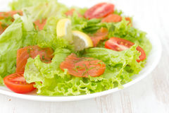Salad with salmon and tomato Royalty Free Stock Image
