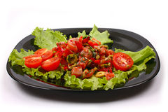 Salad with salmon, tomato,pepper,olives stock photo
