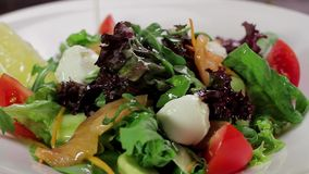Salad with salmon and vegetables. stock footage