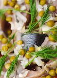 Salad with salted herring, dill, onion and green peases Stock Image
