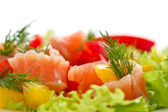 Salad with salted salmon Stock Photo