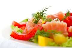 Salad with salted salmon Royalty Free Stock Photography