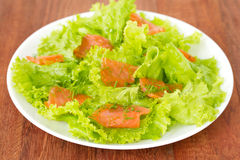 Salad with salted salmon Stock Photos