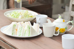 Salad, sandwich and tea Stock Image