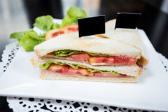 Salad Sandwich. Salad vegetable Sandwich on white dish Stock Image