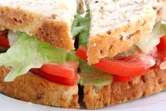 Salad Sandwich on Wholegrain Bread. Closeup of a salad sandwich with mayonnaise, on wholegrain bread royalty free stock photo
