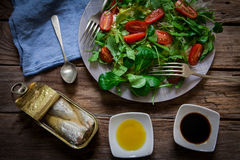 Salad and sardines Stock Photos