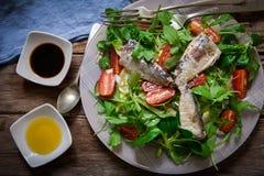 Salad and sardines Stock Photo