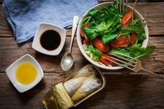 Salad and sardines Stock Photography