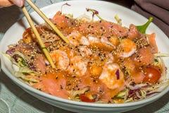 Salad of sashimi and shrimp Stock Photography