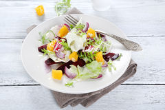 Salad with sauce on a plate Royalty Free Stock Images