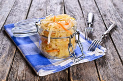 Salad of sauerkraut. And carrots in rustic style. Selective focus Stock Images