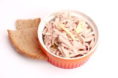 Salad of sausage with cheese Royalty Free Stock Photo