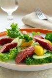 Salad with sausage and fresh vegetables Royalty Free Stock Image
