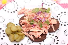 Salad of sausage Royalty Free Stock Photos