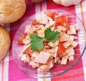 Salad of sausage and tomatoes Royalty Free Stock Photo