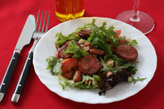Salad with sausages Royalty Free Stock Image