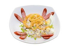 Salad with sausages eggs and mushrooms Stock Photos