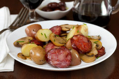 Salad with sausages and mushrooms Stock Image