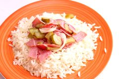 Salad of sausages with rice Stock Photography
