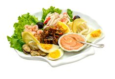 Salad with sea food with egg stock images