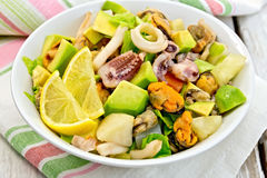 Salad seafood and avocado on linen napkin Royalty Free Stock Photos