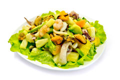 Salad seafood and avocado in plate Royalty Free Stock Photo