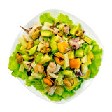 Salad seafood and avocado in plate on top Stock Photo