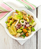 Salad seafood and avocado on white board Stock Photography