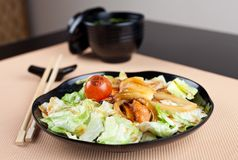 Salad with seafood in japanese style Royalty Free Stock Photo