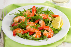 Salad with seafood on the plate Royalty Free Stock Photos