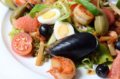 Salad with seafood with a squid, a tuna fillet, meat of mussels Stock Photo