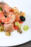 Salad with seafood with a squid, a tuna fillet Royalty Free Stock Photo