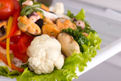 Salad of seafood and vegetables Stock Photo