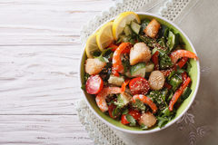 Salad with seafood and vegetables. horizontal top view Stock Image