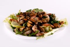 A salad with seafood on a white plate Royalty Free Stock Images