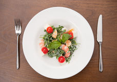 Salad. Seafood salad in a white plate Stock Photo