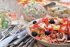 Salad from seafoods with olives and vegetables Royalty Free Stock Photography