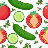 Salad seamless pattern. Tomato and cucumber endless background, texture. Stock Photo
