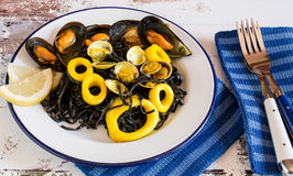 Salad with seaweed and calamary Royalty Free Stock Photography