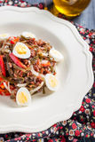 Salad with seaweed, eggs, rice and red pepper Stock Photography