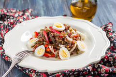 Salad with seaweed, eggs, rice and red pepper Royalty Free Stock Photo